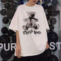 レディース 可愛いクマプリント Tシャツ ラウンドネック ゆったり 半袖 インスタ映え ストリート 韓国ファッション ホワイト ピンク (DCT-596953364679)