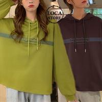 レディース パーカー 薄パーカー フード プルオーバー フーディ 春 秋 グリーン パープル ストリート 体型カバー 韓国 韓国ファッション (DTC-602387507401_012)