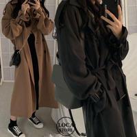 ロングコート 袖ベルト 韓国 ファッション レディース シングルブレスト アウター ロング丈コート レトロ シンプル (DTC-603630388177)