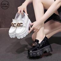 厚底 ローファー 22.0~24.5cm チェーンデザイン インヒール パテントレザー 歩きやすい ホワイト ブラック 靴 厚底シューズ ガーリー DTC-653746628591