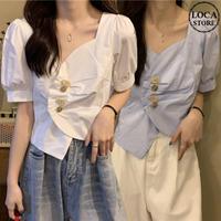 不規則デザイン ブラウス ショート丈 スクエアネック 韓国ファッション レディース シャツ トップス 半袖 ゆったり 大人可愛い ガーリー DTC-620668150199