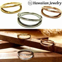【HAWAIIANJEWELRY / ハワイアンジュエリー】 リング 指輪 2連 K14イエローゴールド スクロール サージカルステンレス メンズ レディース ペアリング インスタ (grs8660)