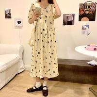 花柄 ワンピース 半袖 韓国ファッション レディース ロング丈 Aライン ローズプリント ガーリー DTC-617455443279