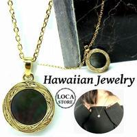 【ハワイアンジュエリー / HawaiianJewelry】ネックレス メダル ブラックシェル イエローゴールド ステンレススチール インスタ ※刻印可能商品 (gps81032)