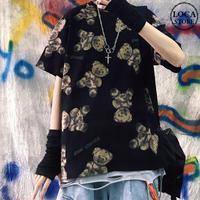 ユニセックス Tシャツ 半袖 メンズ レディース ラウンドネック クマちゃん ベアー プリント オーバーサイズ 大きいサイズ ルーズ ストリート TBN-617001976568