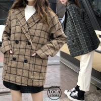 チェック柄 ラシャ テーラードジャケット 韓国ファッション レディース ウールジャケット アウター 暖かい ダブルブレスト レトロ 秋 冬 (DTC-603067482652)