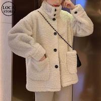ボアブルゾン ボタン 韓国 ファッション レディース ボアジャケット アウター コート ジャケット もこもこ ボア 羊毛 ドロップショルダー (DTC-607833991360)