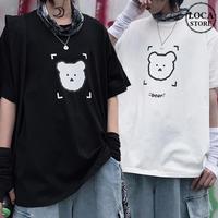 ユニセックス Tシャツ 半袖 メンズ レディース ラウンドネック クマちゃん ベアー プリント オーバーサイズ 大きいサイズ ルーズ ストリート TBN-618204870974