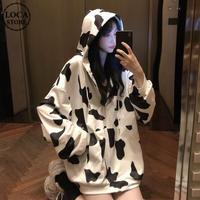 牛柄 パーカー ジップアップ オーバーサイズ 韓国ファッション レディース ルーズ ジッパー 長袖 ゆったり 大きめ ルーズ カジュアル ストリート ファッション DTC-628266604018