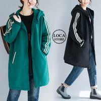 袖2本ライン アウター ジップアップ パーカー 韓国 ファッション レディース フード付き 無地 サイドポケット ミドル丈 (DCT-607002837674)