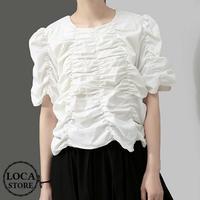 レディース ギャザーデザイン カットソー パフスリーブ 裾フリンジ 半袖 韓国ファッション (DCT-594973809955)