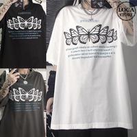 ユニセックス Tシャツ 半袖 メンズ レディース 英字 蝶 バタフライ プリント コットン オーバーサイズ 大きいサイズ ルーズ ストリート TBN-622670576113
