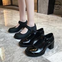 艶あり・艶なしの2タイプ展開! パンプス チャンキーヒール 6cm 韓国ファッション レディース ラウンドトゥ キュート 痛くない かわいい 靴 歩きやすい 610065372757