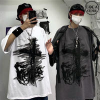 Tシャツ 半袖 メンズ レディース ユニセックス ラウンドネック 英字 落書き風 クロス プリント オーバーサイズ 大きいサイズ ルーズ ストリート TBN-613074912510
