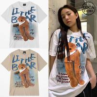 ユニセックス 半袖 Tシャツ メンズ レディース 英字 LITTLE BAER 脚長のクマちゃん バックプリント オーバーサイズ 大きいサイズ ルーズ ストリート TBN-610837851086