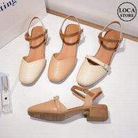 サンダル クリアヒール チャンキーヒール4cm アンクルストラップ 韓国ファッション レディース サンダル スクエアトゥ キュート 痛くない かわいい 靴 歩きやすい