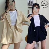 セットアップ ジャケット + ショートパンツ 韓国ファッション レディース 春 夏 ハイウエスト レトロ DTC-616494738453