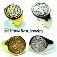 【ハワイアンジュエリー / HawaiianJewelry】 リング/指輪 レディース メンズ シルバー K14イエローゴールドコーティング インスタ (grs8613)