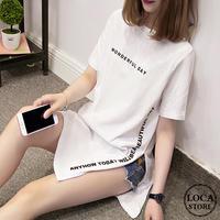 レディース サイドスリット ロングTシャツ ラウンドネック ゆったり Tシャツ レタリングプリント ストリート系 韓国ファッション (DCT-565267874379)
