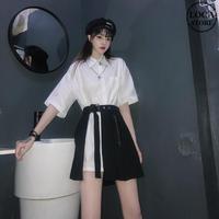 セットアップ ロングシャツ + プリーツスカート 韓国ファッション レディース 2点セット ミニスカート トップス シャツ 半袖 ハイウエスト ガーリー DTC-620875865293