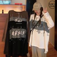 長袖 Tシャツ 前後で丈違い 両側スリット韓国ファッション レディース ロングTシャツ ロンt トップス ゆったり カットソー 大人可愛い ガーリー DTC-626527399174