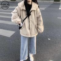 ボアパーカー もこもこ ジップアップ 韓国ファッション レディース ボアブルゾン パーカー ボア アウター ビッグシルエット ボアジャケット 秋 冬 (DTC-606610675474)