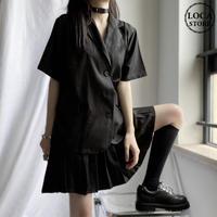 セットアップ ジャケット風シャツ + プリーツスカート Aラインスカート 韓国ファッション レディース 2点セット ミニスカート トップス スーツシャツ ガーリー DTC-616135929722