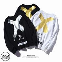 【3カラー】ユニセックス メンズ/レディース バックプリント スウェット トレーナー バツ クロス ストリート系 韓国ファッション (DCT-579839357855)