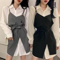 セットアップ ロングシャツ + サスペンダースカート 韓国ファッション レディース 不規則デザイン ワンピース シャツ ハイウエスト 大人可愛い ガーリー (DTC-623088064259)