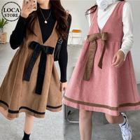 2点セット ジャンパースカート + ニットセーター コーデュロイ 韓国ファッション レディース 大きいリボン サスペンダースカート 大人可愛い ガーリー DTC-626572469215