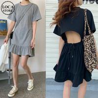 オープンバック ワンピース 背中あき 薄手 Tシャツ+フリルスカート 半袖 韓国ファッション レディース バックレス 大人可愛い ガーリー フェミニン DTC-615537051967