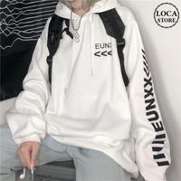 ユニセックス プルオーバー パーカー メンズ レディース 英字 袖プリント オーバーサイズ ルーズ 大きいサイズ ストリート TBN-605168200024