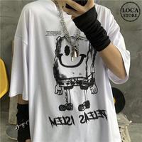 ユニセックス Tシャツ 半袖 メンズ レディース ラウンドネック 落書き風 ダークインク プリント オーバーサイズ 大きいサイズ ルーズ ストリート TBN-597281485378