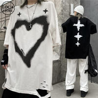 ユニセックス ダメージ加工 Tシャツ ハート クロス 半袖 ラウンドネック オーバーサイズ 韓国ファッション レディース 大きめ カジュアル ストリートファッション DTC-643334954197