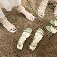 サンダル イミテーションパール アンクルストラップ チャンキーヒール 4.5cm スクエアトゥ 韓国ファッション レディース 痛くない かわいい 靴 歩きやすい 597358297090