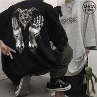 ユニセックス Tシャツ 半袖 メンズ レディース ダークホラー プリント オーバーサイズ 大きいサイズ ルーズ ストリート DTC-598850483866