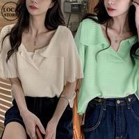 サマーニット トップス ブラウス サマーセーター Tシャツ 韓国ファッション レディース 半袖 薄手 大人可愛い ガーリー フェミニン DTC-641191380432