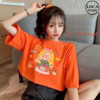 Tシャツ 半袖 ショート丈 オレンジ 韓国ファッション レディース トップス ラウンドネック プリント かわいい カジュアル シンプル ガーリー DTC-620130460978_og