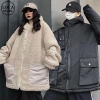 リバーシブル フード付き ボアブルゾン ユニセックス ラムウール 厚手 韓国ファッション ボアジャケット パーカー 2way もこもこ 防寒 カジュアル ストリート DTC-628591128418