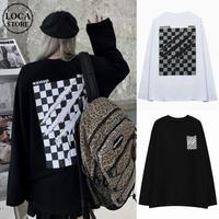 ユニセックス Tシャツ 長袖 モノトーンフラッグ柄 爪痕 オーバーサイズ 韓国ファッション メンズ レディース ロンT カジュアル ストリートファッション DTC-651649556386