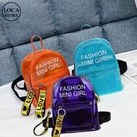 半透明 ミニバッグ バックパック リュックサック ゼリーバッグ 韓国ファッション レディース オレンジ ブルー パープル クリアバッグ ストラップ 鞄 DTC-619507330440