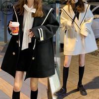 【アウター】 コート ウール ダブルブレスト ホワイト ブラック 長袖 韓国ファッション レディース ウーレンコート ルーズ ゆったり レトロ かわいい ガーリー 609785516275