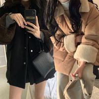 ボアブルゾン ラムウール 防寒 襟ボア 袖ボア 韓国ファッション レディース ボアジャケット ブルゾン ジャンパー アウター 長袖 ゆったり 大人可愛い ガーリー DTC-627834316596