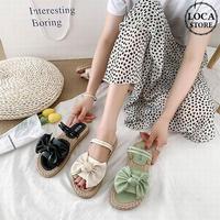 2WAY ストラップ サンダル 大きめリボン フラットサンダル 韓国ファッション レディース ぺたんこサンダル 痛くない かわいい 靴 歩きやすい 618921890342