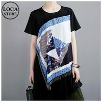 レディース デザインプリント Tシャツ アシンメトリー 裾フリンジ 半袖 韓国ファッション (DCT-597149679726)