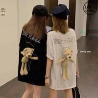 クマのぬいぐるみ付き Tシャツ オーバーサイズ 半袖 韓国ファッション レディース ルーズ トップス ゆったり カットソー カジュアル かわいい ガーリー DTC-618264974574