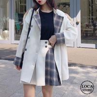 レディース ジャケット チェック袖 ダブルブレスト ホワイト チェック柄 アウター 大人カジュアル 韓国 韓国ファッション (DTC-601023676771_101)