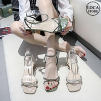 サンダル ラインストーン アンクルストラップ チャンキーヒール 6cm 韓国ファッション レディース ストラップ パンプス キュート 痛くない かわいい 靴 歩きやすい 614736619415