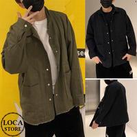 メンズ ダメージ加工 切りっぱなし ジャケット ミドル丈 韓国ファッション (DCT-588336778016)