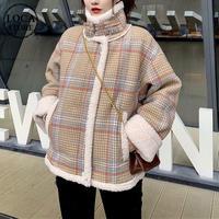 ボアブルゾン チェック柄 韓国ファッション レディース ムートン もこもこ 綿入れ 防寒 ムートンジャケット ハーフコート アウター 秋 冬 (DTC-605870497117)